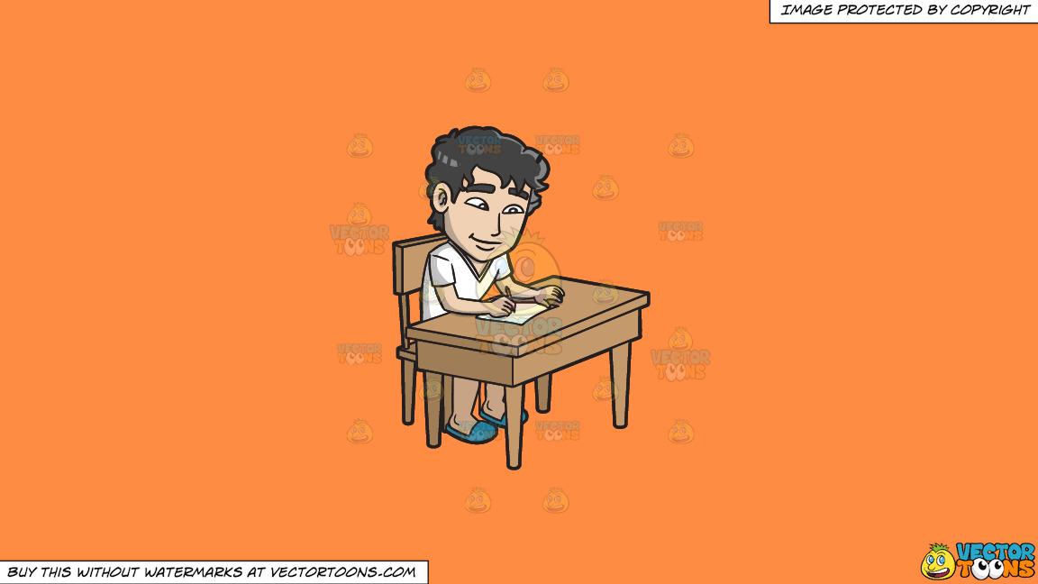 A Young Man Writing A Letter On A Solid Mango Orange Ff8c42 Background thumbnail