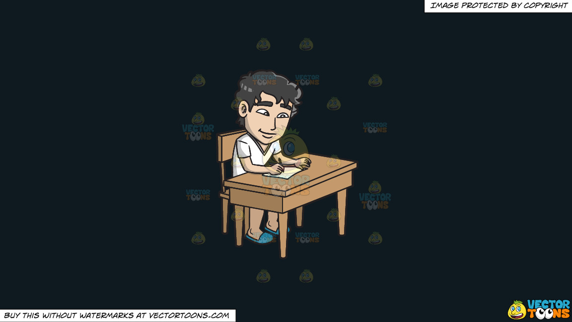 A Young Man Writing A Letter On A Solid Off Black 0f1a20 Background thumbnail