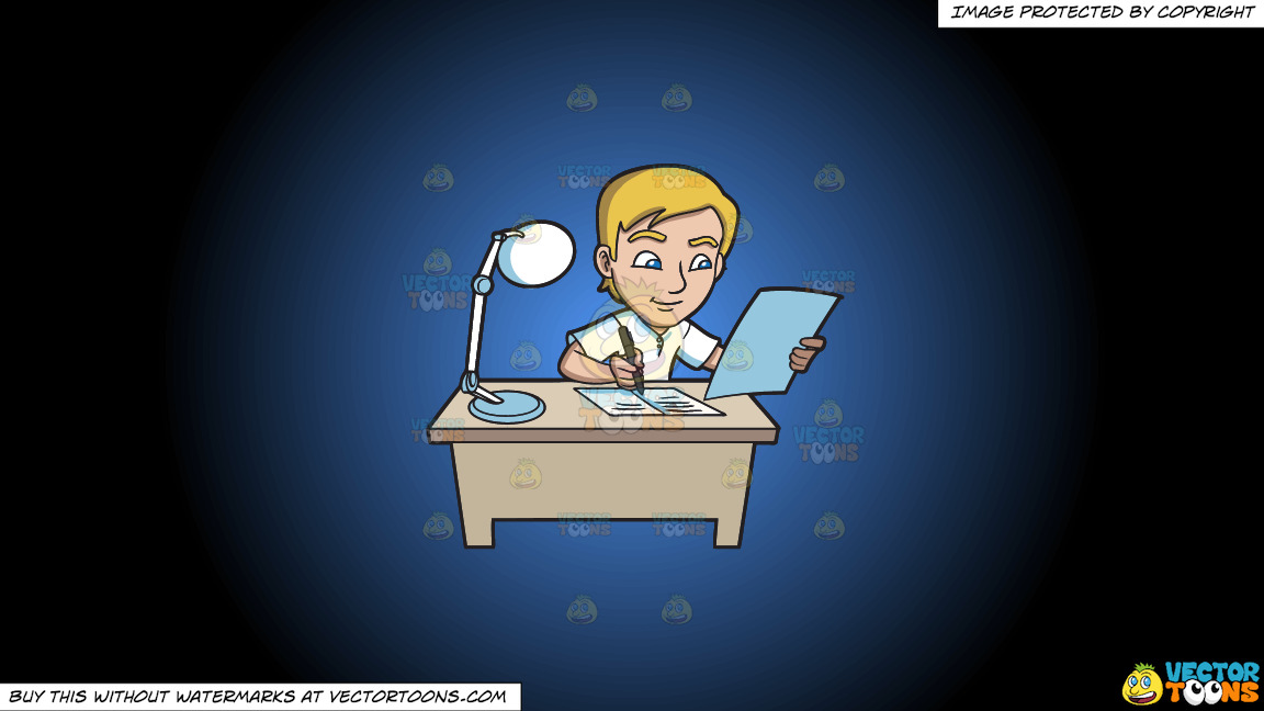 A Young Man Writing Down Notes In His Reviewer On A Blue And Black Gradient Background thumbnail