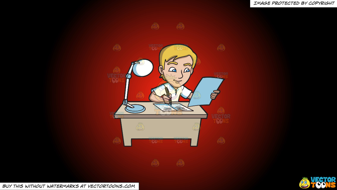 A Young Man Writing Down Notes In His Reviewer On A Red And Black Gradient Background thumbnail