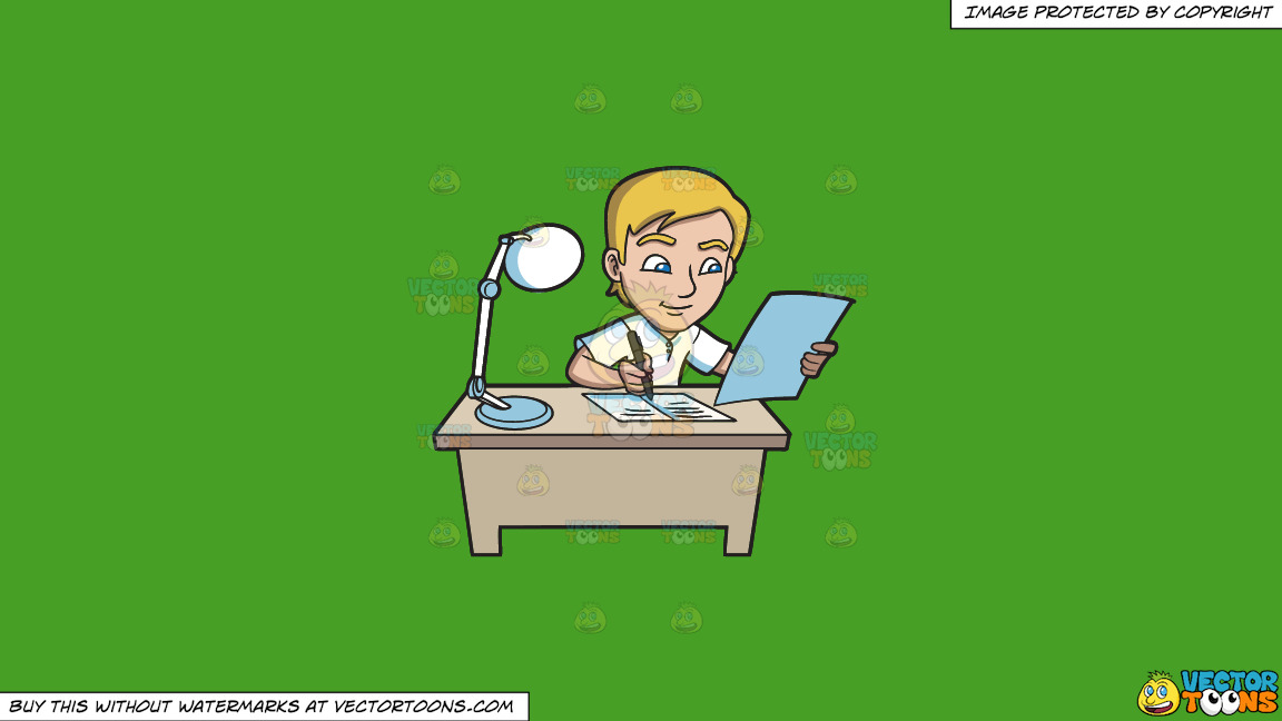 A Young Man Writing Down Notes In His Reviewer On A Solid Kelly Green 47a025 Background thumbnail