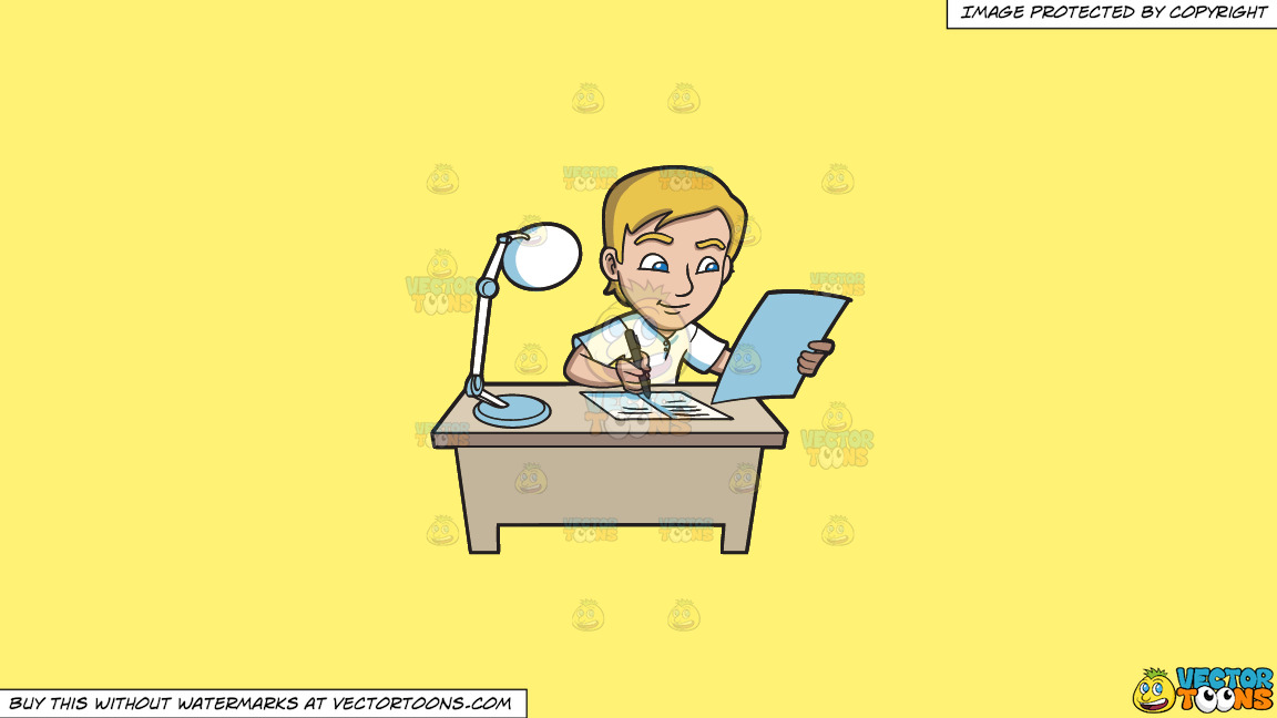 A Young Man Writing Down Notes In His Reviewer On A Solid Sunny Yellow Fff275 Background thumbnail