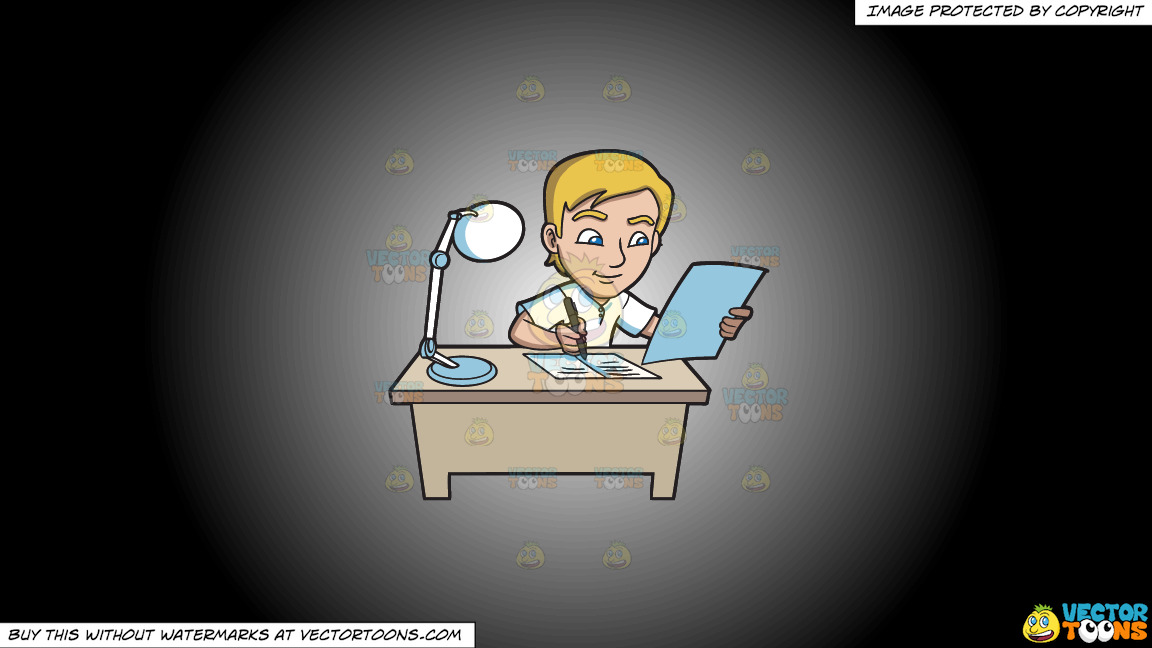 A Young Man Writing Down Notes In His Reviewer On A White And Black Gradient Background thumbnail