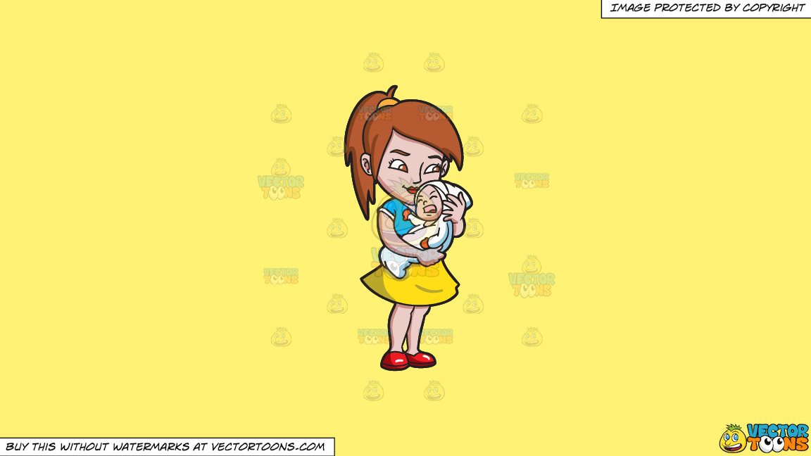 A Young Mother Caressing And Trying To Hush The Cries Of Her Child On A Solid Sunny Yellow Fff275 Background thumbnail