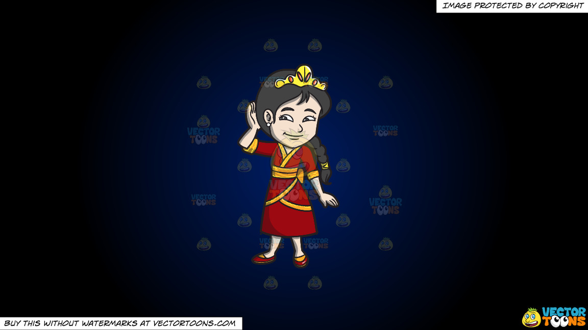 A Young Oriental Princess On A Dark Blue And Black Gradient Background thumbnail