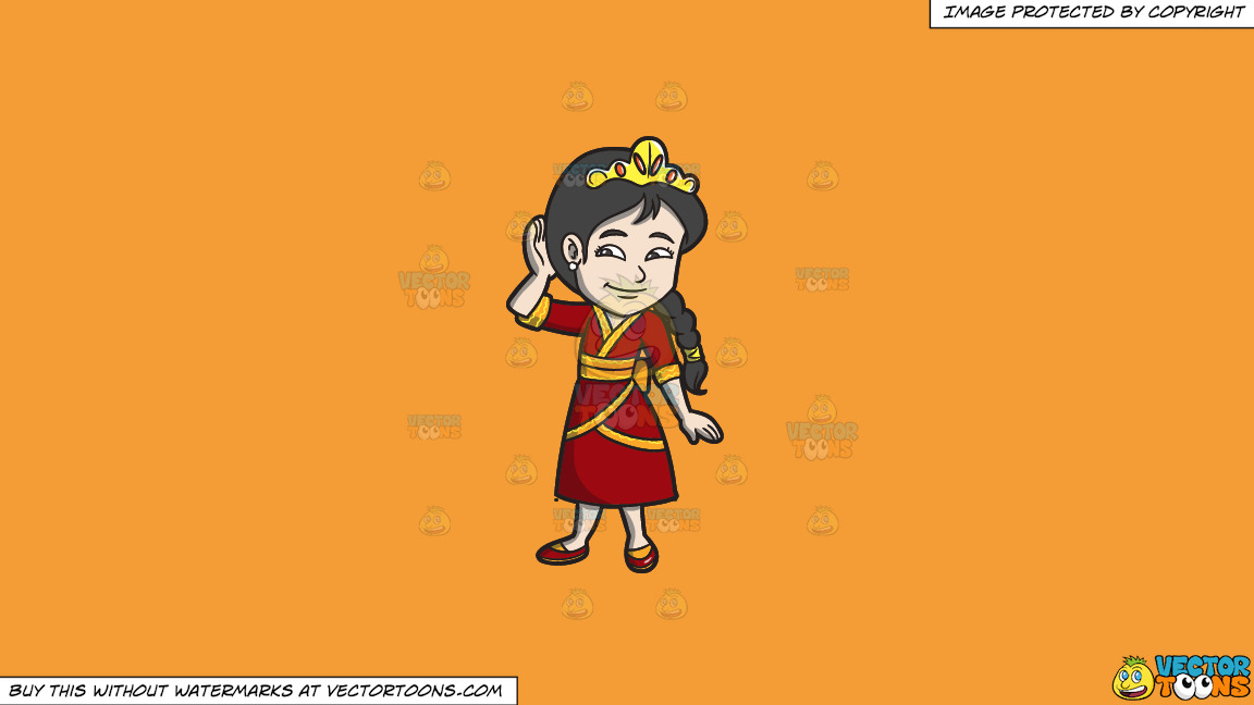 A Young Oriental Princess On A Solid Deep Saffron Gold F49d37 Background thumbnail