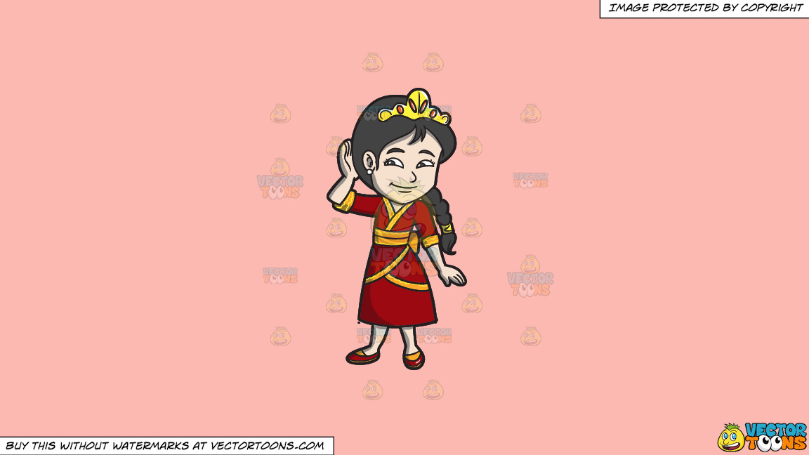 A Young Oriental Princess On A Solid Melon Fcb9b2 Background thumbnail
