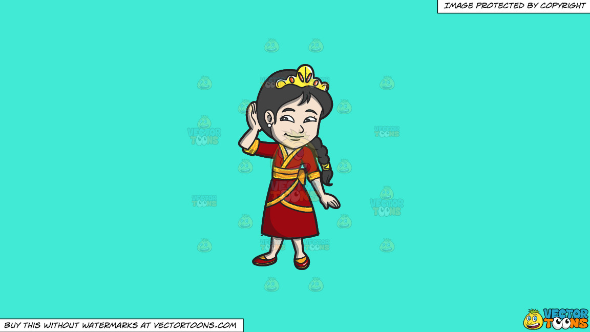 A Young Oriental Princess On A Solid Turquiose 41ead4 Background thumbnail