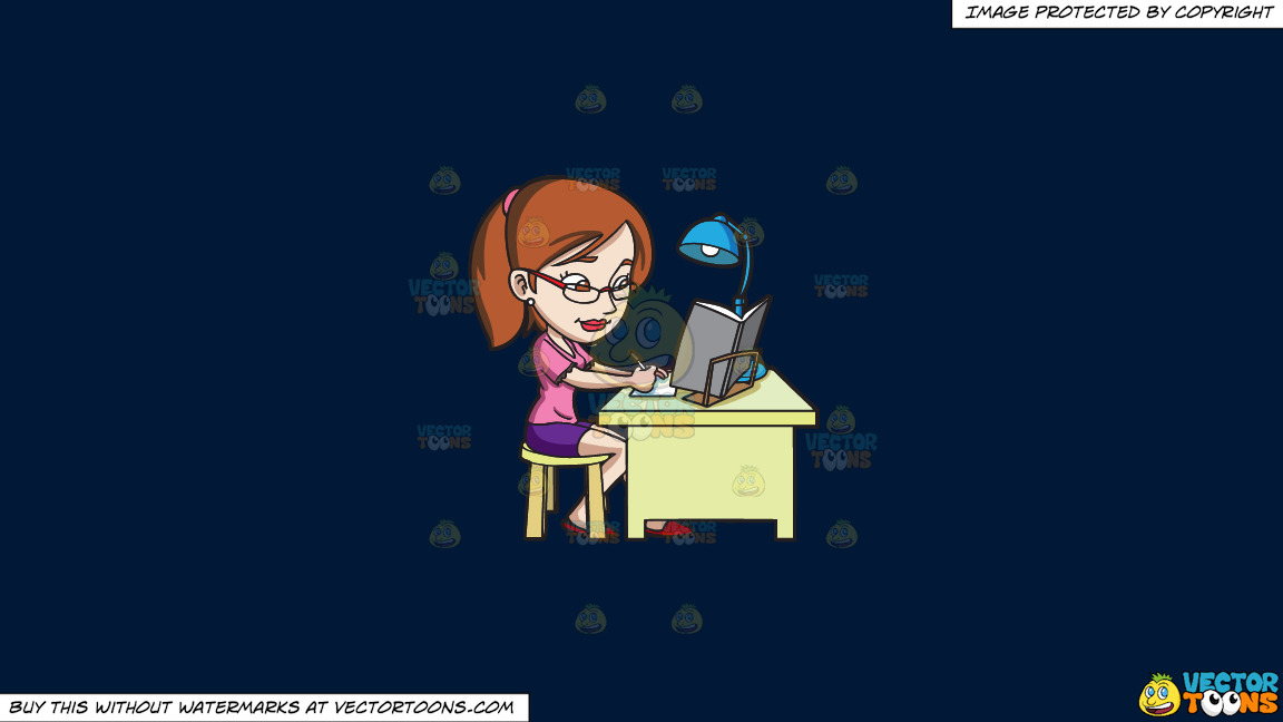 A Young Woman Concentrating On Her Exam Reviewer On A Solid Dark Blue 011936 Background thumbnail