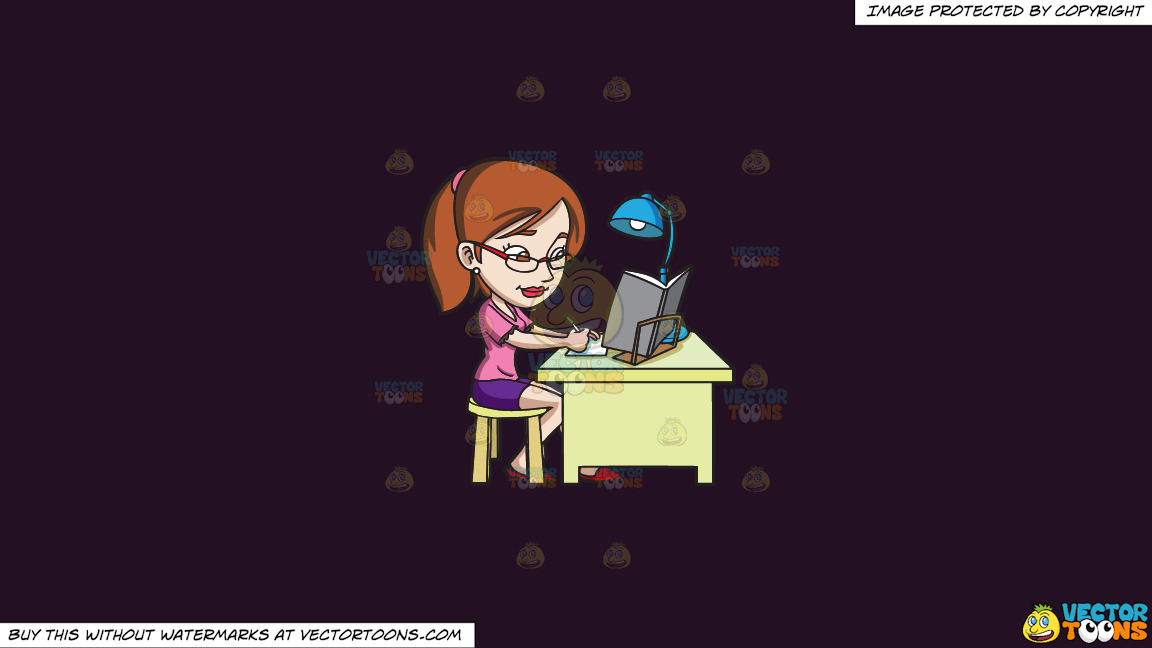 A Young Woman Concentrating On Her Exam Reviewer On A Solid Purple Rasin 241023 Background thumbnail