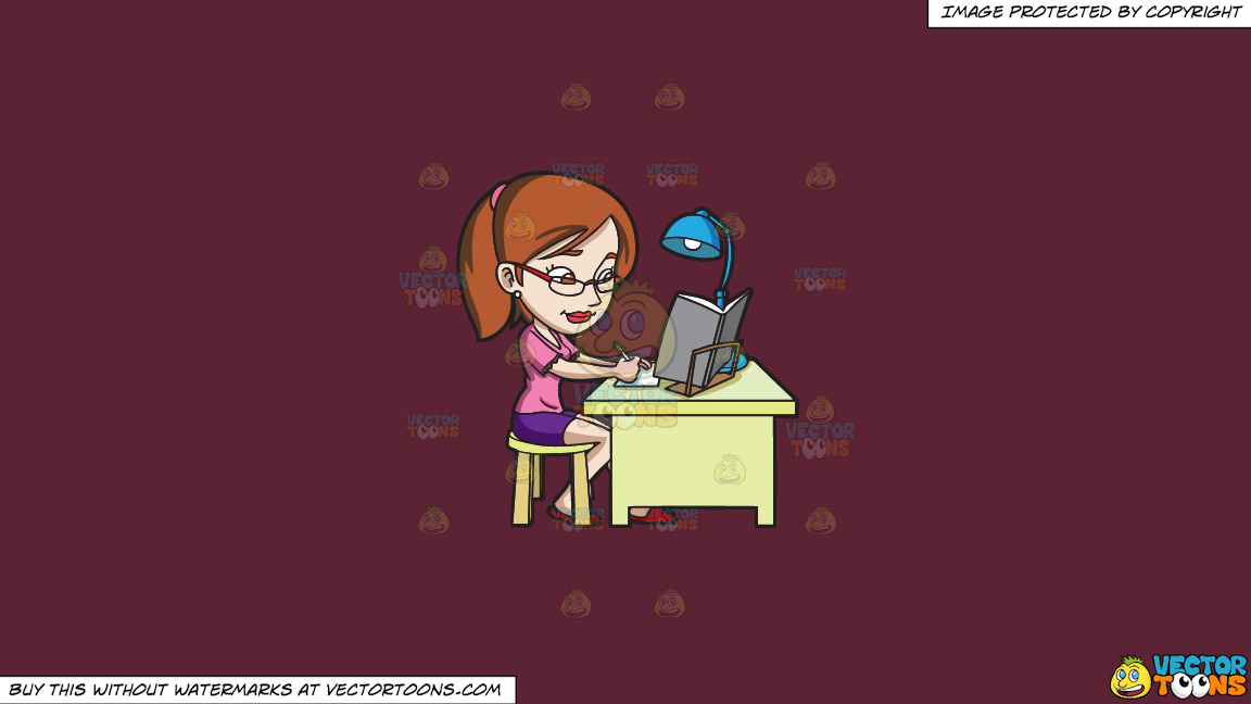A Young Woman Concentrating On Her Exam Reviewer On A Solid Red Wine 5b2333 Background thumbnail