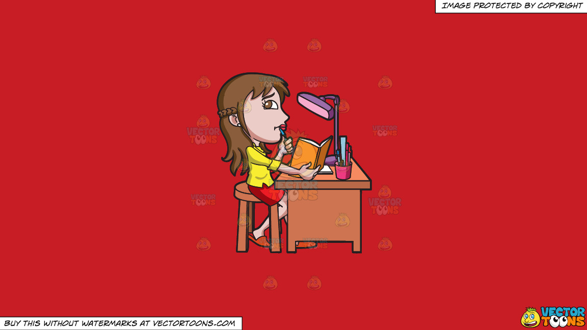 A Young Woman Curiously Studies For An Exam On A Solid Fire Engine Red C81d25 Background thumbnail