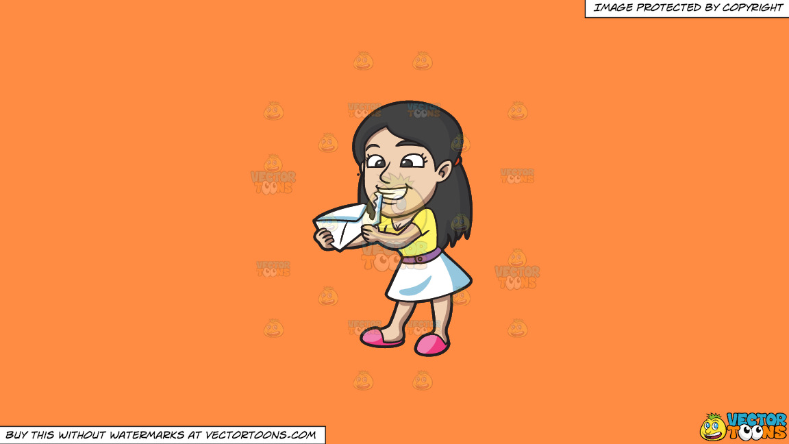 A Young Woman Tearing An Envelope Open With Her Teeth On A Solid Mango Orange Ff8c42 Background thumbnail
