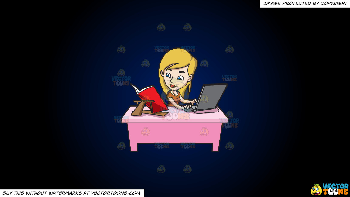 A Young Woman Typing Notes Via Her Laptop On A Dark Blue And Black Gradient Background thumbnail