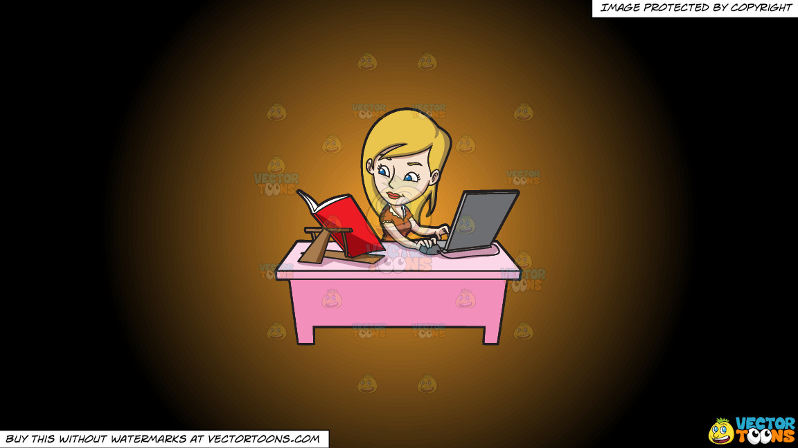 A Young Woman Typing Notes Via Her Laptop On A Orange And Black Gradient Background thumbnail