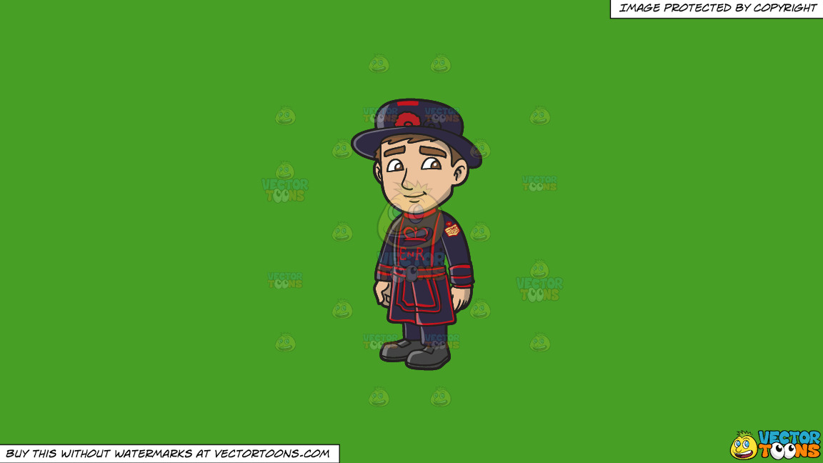 A Young Yeoman Guard In An Undress Uniform On A Solid Kelly Green 47a025 Background thumbnail