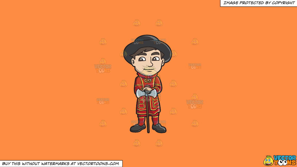 A Young Yeoman Guard With A Double Ax On A Solid Mango Orange Ff8c42 Background thumbnail