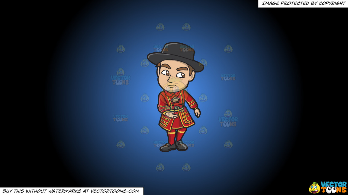 A Young Yeoman Warder And Tourist Guide On A Blue And Black Gradient Background thumbnail