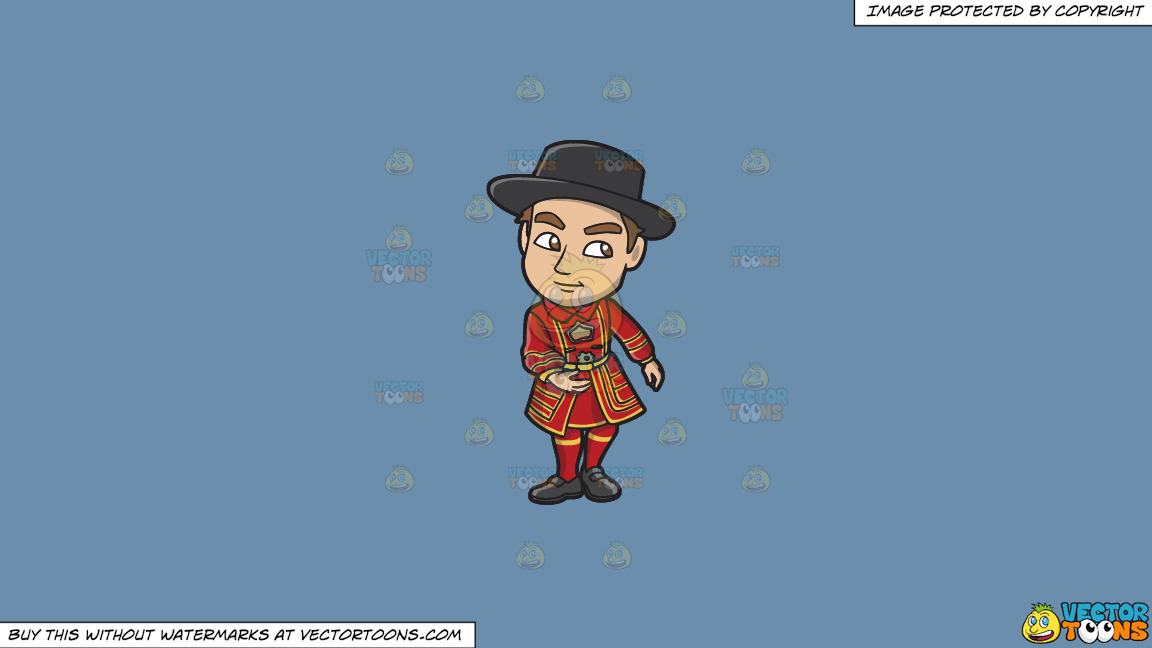 A Young Yeoman Warder And Tourist Guide On A Solid Shadow Blue 6c8ead Background thumbnail