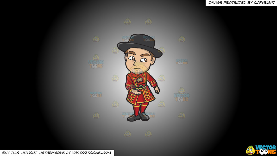 A Young Yeoman Warder And Tourist Guide On A White And Black Gradient Background thumbnail