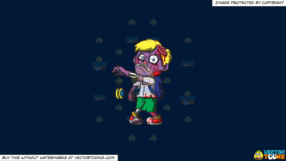 A Zombie With A Yoyo On A Solid Dark Blue 011936 Background thumbnail