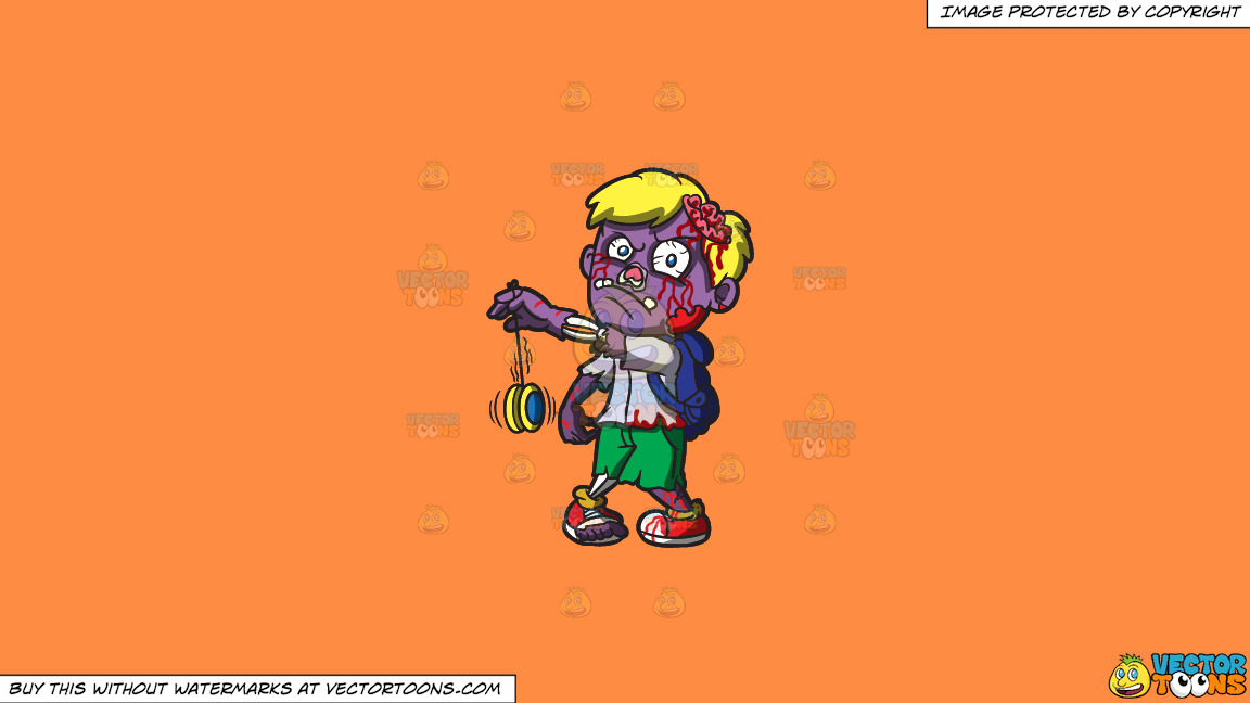 A Zombie With A Yoyo On A Solid Mango Orange Ff8c42 Background thumbnail