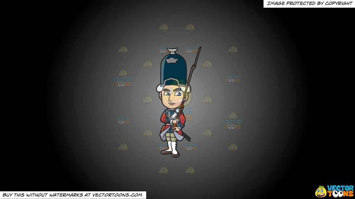 An 18th Century Military Man Carrying A Gun With Bayonet On A Grey And Black Gradient Background thumbnail