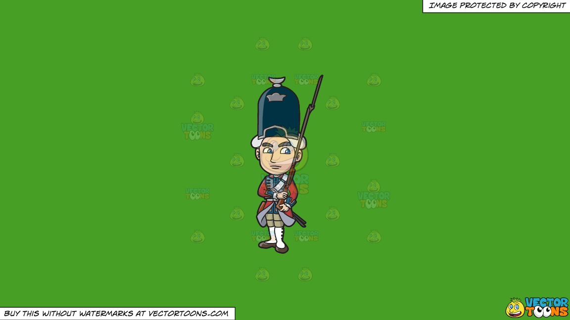 An 18th Century Military Man Carrying A Gun With Bayonet On A Solid Kelly Green 47a025 Background thumbnail