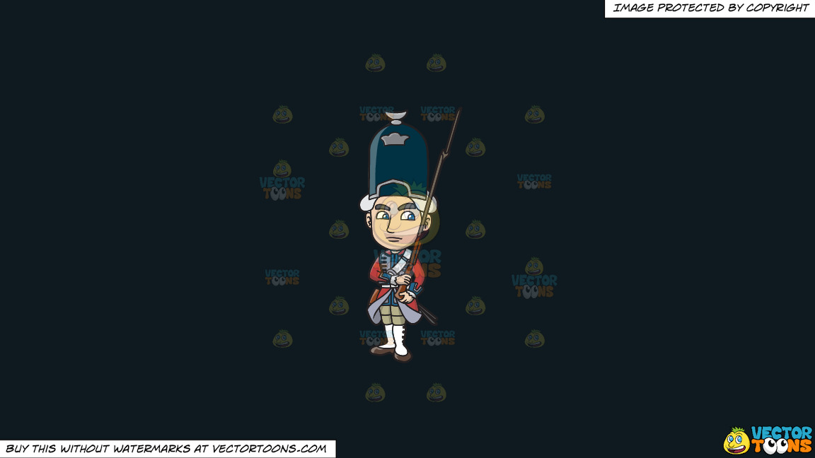 An 18th Century Military Man Carrying A Gun With Bayonet On A Solid Off Black 0f1a20 Background thumbnail