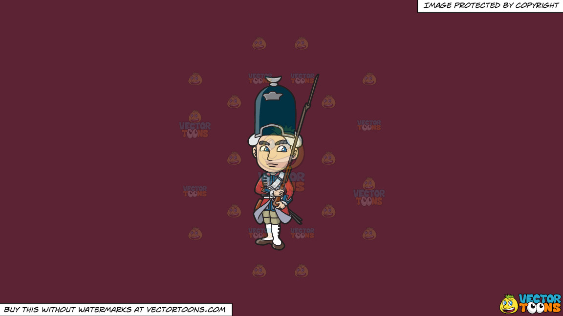 An 18th Century Military Man Carrying A Gun With Bayonet On A Solid Red Wine 5b2333 Background thumbnail