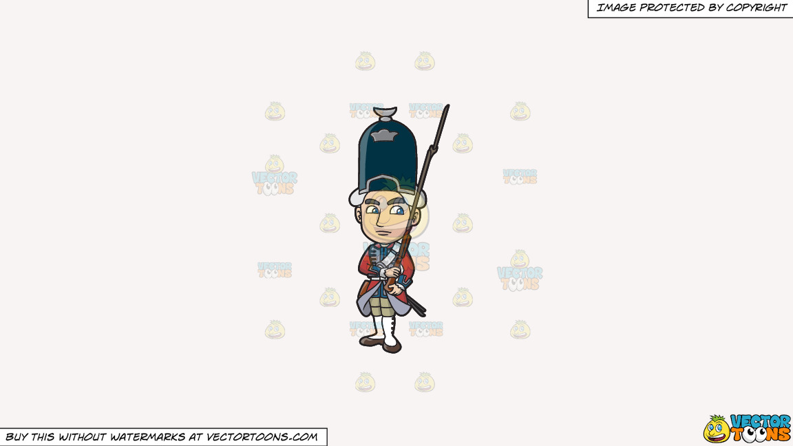 An 18th Century Military Man Carrying A Gun With Bayonet On A Solid White Smoke F7f4f3 Background thumbnail