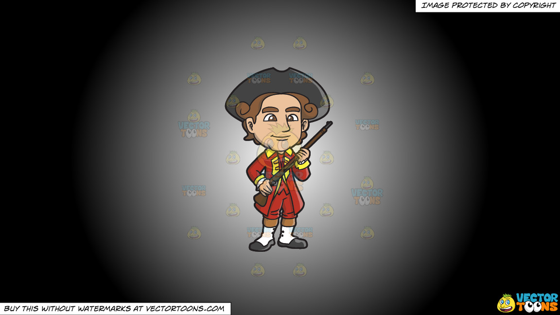 An 18th Century Military Man Carrying A Shotgun On A White And Black Gradient Background thumbnail