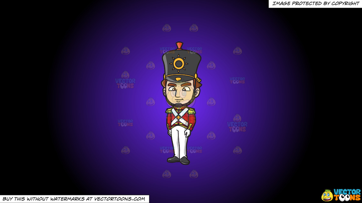 An 18th Century Military Man Standing Tall On A Purple And Black Gradient Background thumbnail