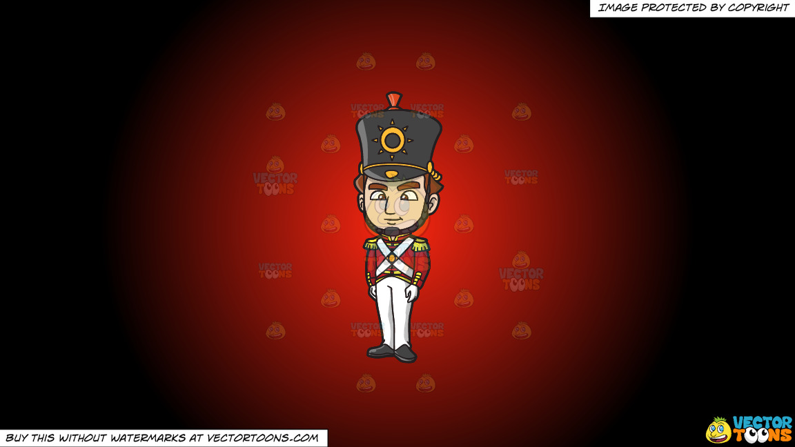 An 18th Century Military Man Standing Tall On A Red And Black Gradient Background thumbnail