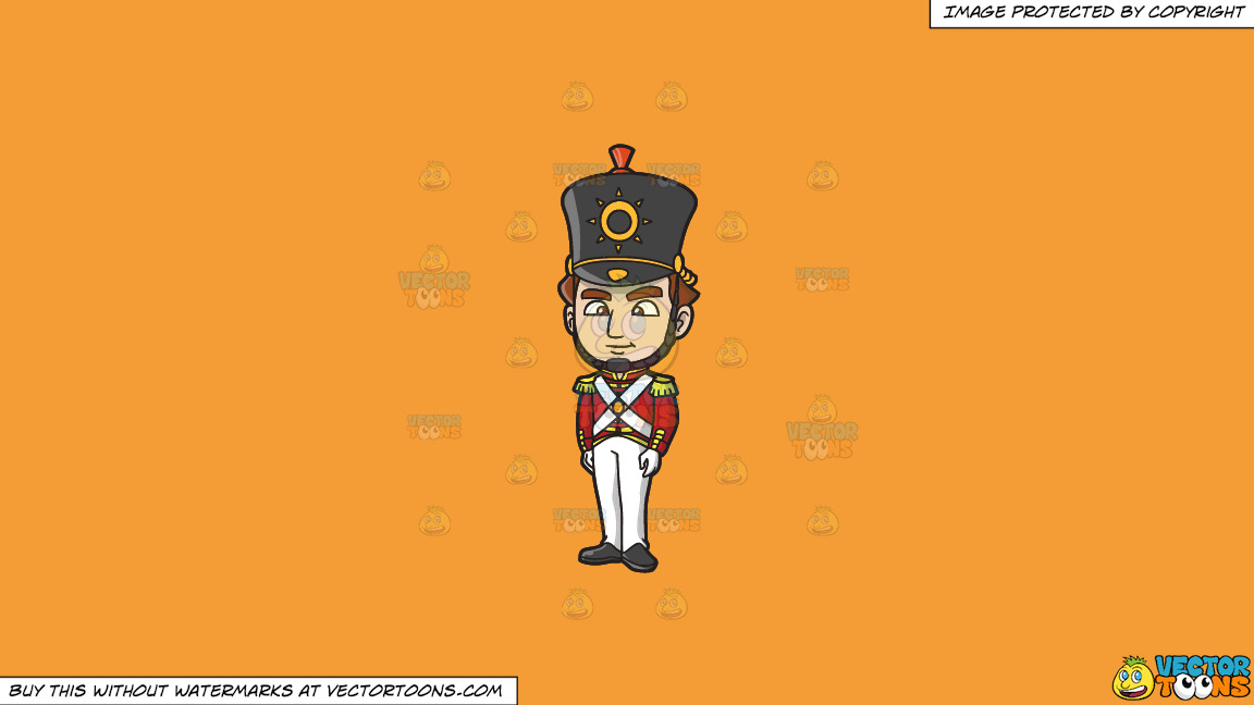 An 18th Century Military Man Standing Tall On A Solid Deep Saffron Gold F49d37 Background thumbnail