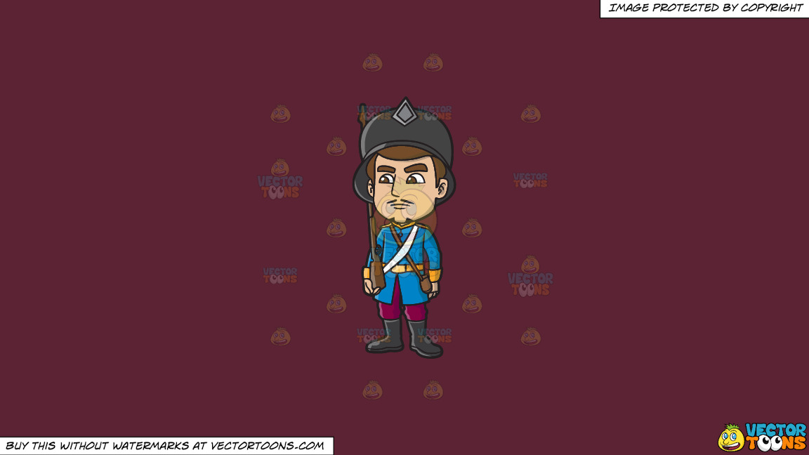 An 18th Century Military Man Stiffly Guards An Area On A Solid Red Wine 5b2333 Background thumbnail