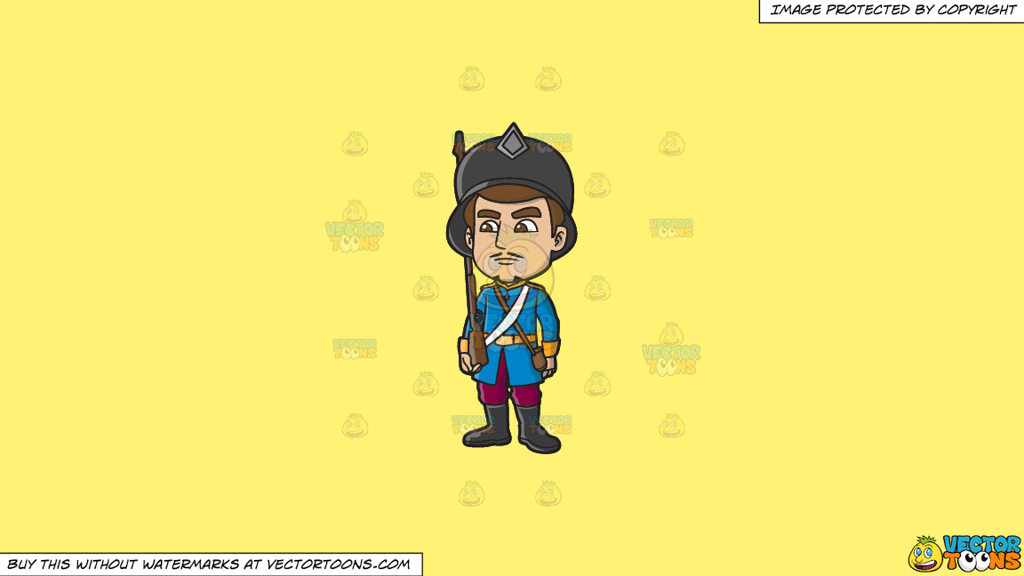 An 18th Century Military Man Stiffly Guards An Area On A Solid Sunny Yellow Fff275 Background thumbnail