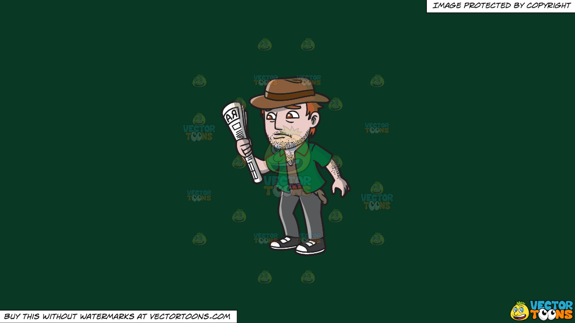 An Addicted Gambler Down On His Luck On A Solid Dark Green 093824 Background thumbnail