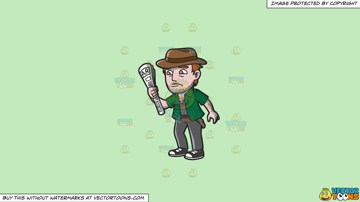 An Addicted Gambler Down On His Luck On A Solid Tea Green C2eabd Background thumbnail
