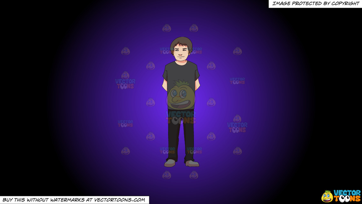 An Adolescent Boy Standing Casually On A Purple And Black Gradient Background thumbnail