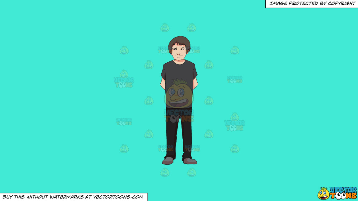 An Adolescent Boy Standing Casually On A Solid Turquiose 41ead4 Background thumbnail