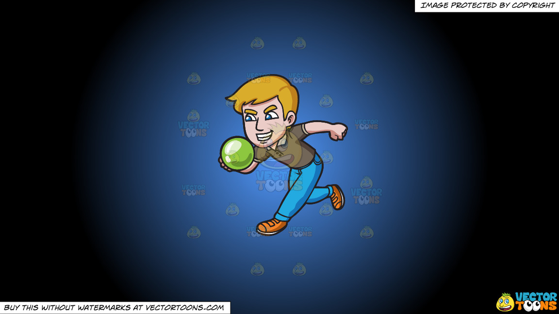 An Aggressive Man Enjoying A Game Of Bowling On A Blue And Black Gradient Background thumbnail