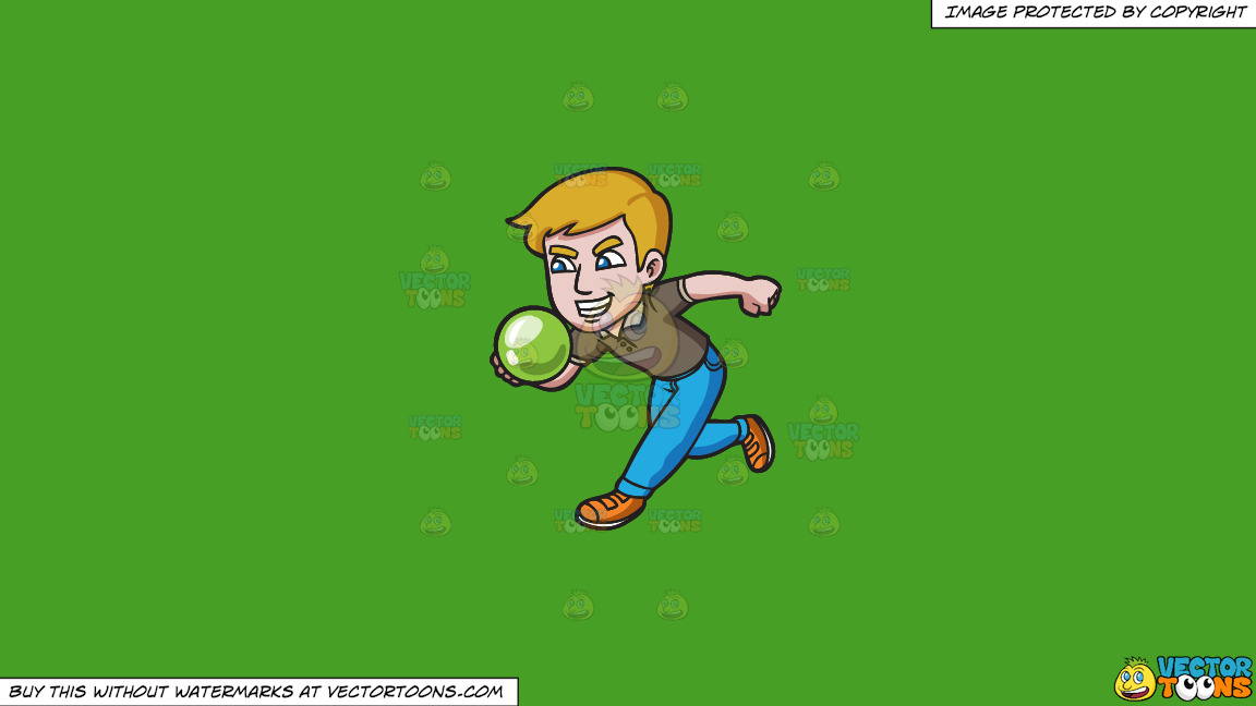 An Aggressive Man Enjoying A Game Of Bowling On A Solid Kelly Green 47a025 Background thumbnail