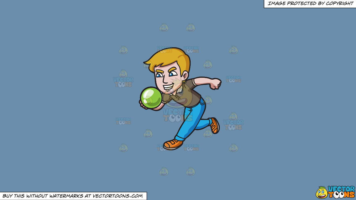 An Aggressive Man Enjoying A Game Of Bowling On A Solid Shadow Blue 6c8ead Background thumbnail
