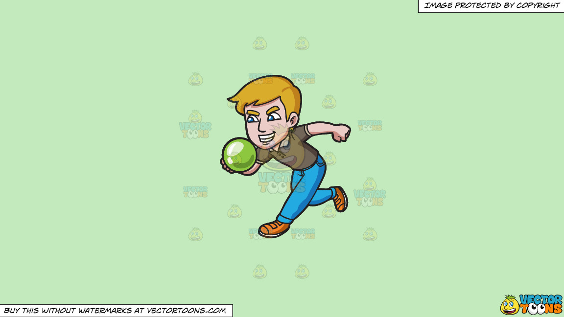 An Aggressive Man Enjoying A Game Of Bowling On A Solid Tea Green C2eabd Background thumbnail