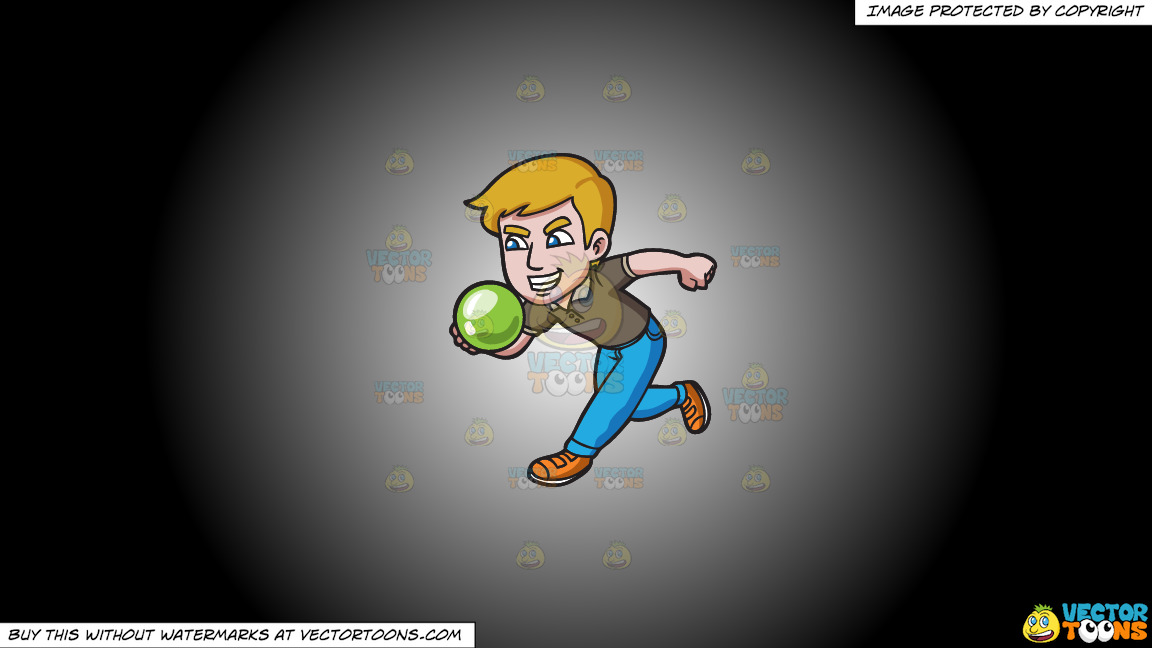 An Aggressive Man Enjoying A Game Of Bowling On A White And Black Gradient Background thumbnail