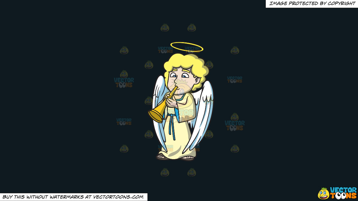 An Angel Playing The Horn On A Solid Off Black 0f1a20 Background thumbnail