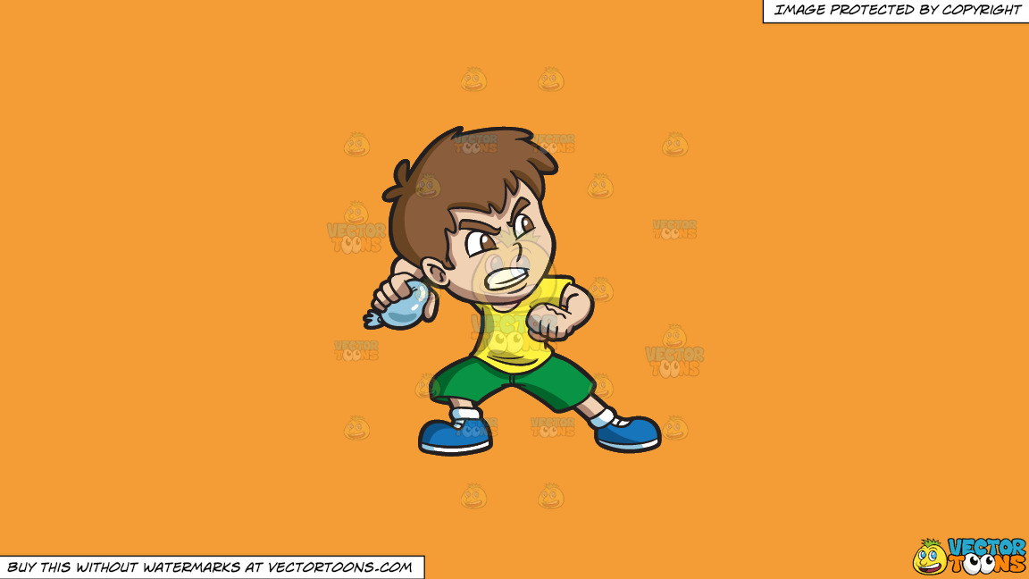 An Angry Boy Throwing A Water Balloon On A Solid Deep Saffron Gold F49d37 Background thumbnail