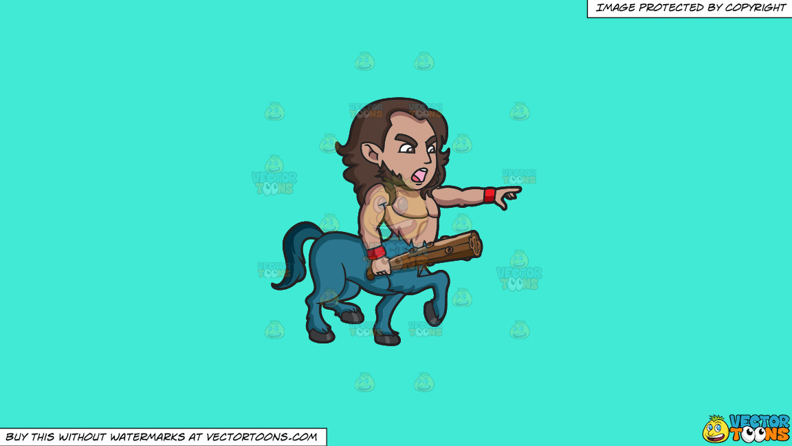 An Angry Centaur Calling Out An Offender On A Solid Turquiose 41ead4 Background thumbnail
