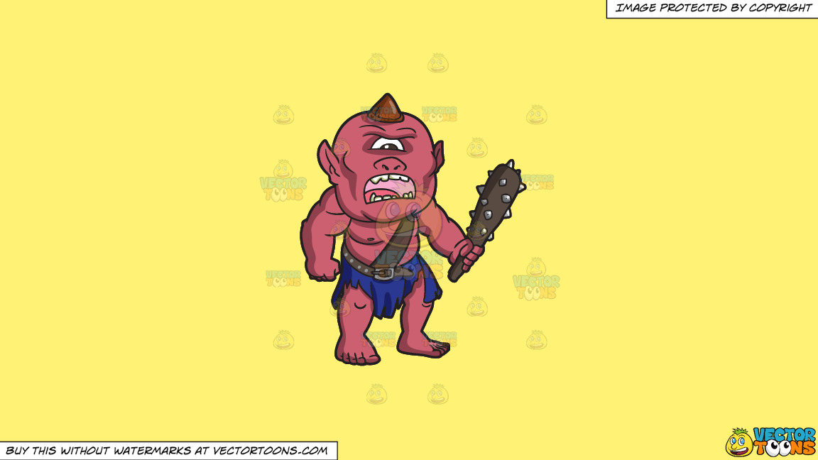 An Angry Looking Cyclops On A Solid Sunny Yellow Fff275 Background thumbnail